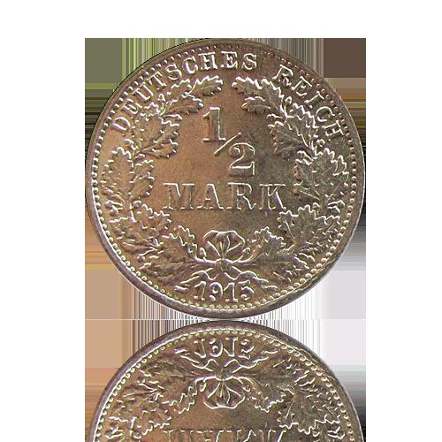100 x 1/2 Mark Kaiserreich Silber 1905 - 1919