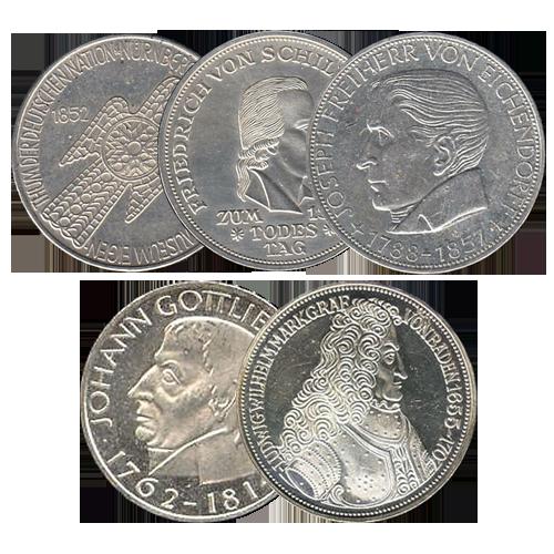 5 x 5 DM Gedenkmünzen SET